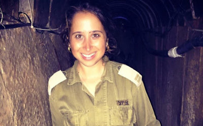 Illustrative: Before retiring this year, Capt. Libby Weiss headed the IDF Spokesperson's Unit's international social media department, where she oversaw a team of 14 enlisted soldiers and one junior officer who produced viral content in English, Spanish and French. (Courtesy of Weiss/via JTA)