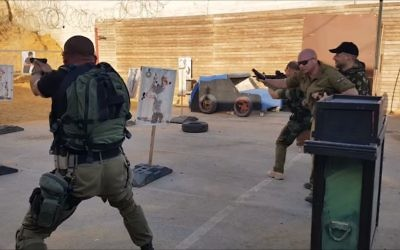 Counterterrorism training at Caliber 3 tourist center in Gush Etzion, November 2016. (Screen capture: YouTube)
