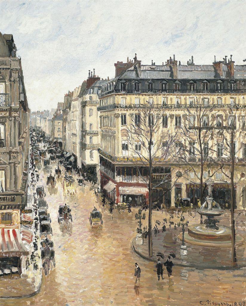 Camille Pissarro's 1897 painting 'Rue Saint-Honoré, dans l'après-midi. Effet de pluie' (Public domain, Museo Thyssen-Bornemisza, Colección Permanente, Wikimedia commons)