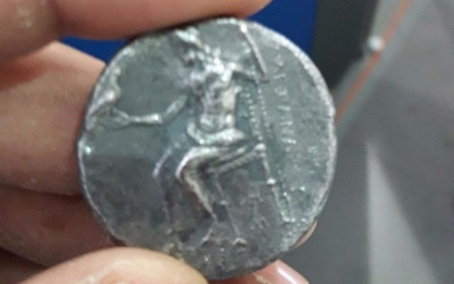 Rare coin from the era of Alexander the Great caught by Ministry of Defense Crossing Authority at Erez Crossing, July 16, 2017. (Ministry of Defense Crossing Authority)