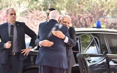 Indian Prime Minister Nerenda Modi hugs President Reuven Rivlin upon arriving at the President's Residence in Jerusalem on Wednesday, July 5, 2017 (courtesy)