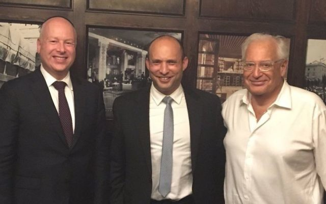 L-R: US President Donald Trump's envoy to the Middle East Jason Greenblatt, Jewish Home chair Naftali Bennett and US Ambassador to Israel David Friedman after meeting in Jerusalem, July 12, 2017. (Jewish Home)
