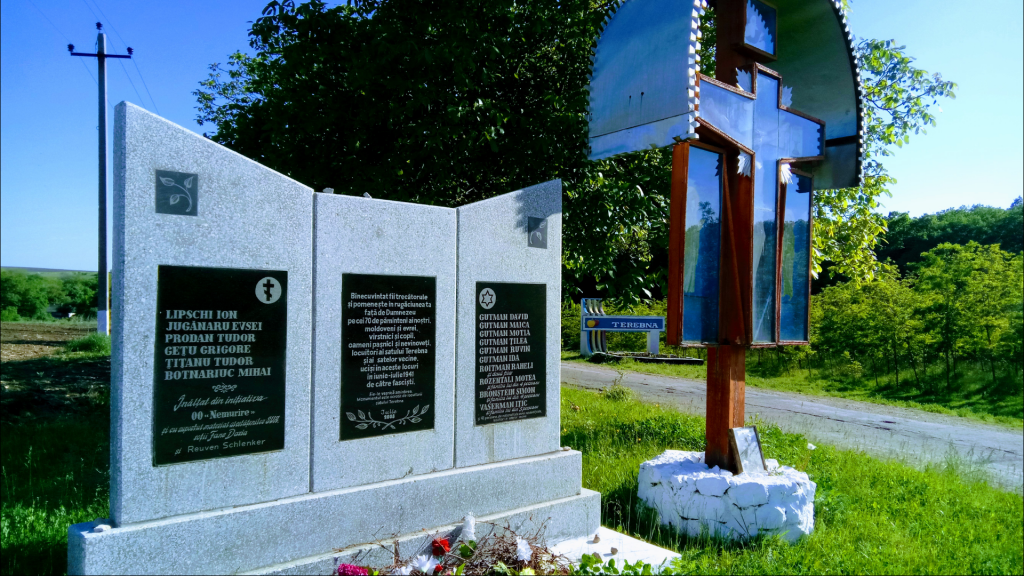 A Holocaust memorial with a Christian cross in Edinits, Moldova. (Courtesy Irina Shihova)
