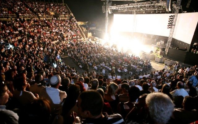 Pink Floyd perfoming at the amphitheater in Caesarea, June 5, 2008. (Moshe Shai/Flash90)