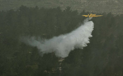 Illustrative: A firefighting plane dumps water on a forest in the Judean Hills during an exercise on March 29, 2012. (Omer Miron/Flash90)