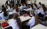 Illustrative image of ultra-Orthodox Jewish girls studying at a Ultra Orthodox Jewish Girls school in Jerusalem, on September 2, 2014. (Yonatan Sindel/Flash90)