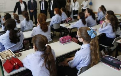 Illustrative image of ultra-Orthodox Jewish girls studying at a Ultra Orthodox Jewish Girls school in Jerusalem, on September 2, 2014. (Yonatan Sindel/Flash90)