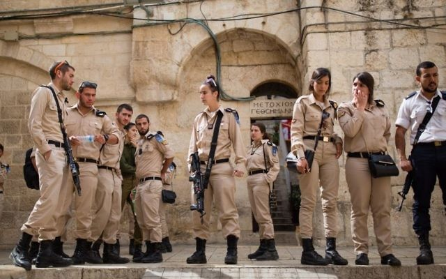 Soldiers of the Naval Unit seen at the Church of the Holy Sepulchre during a tour in Jerusalem's Old City, April 12, 2016. (Corinna Kern/Flash90)