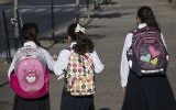 Illustrative image of ultra-Orthodox Jewish girls walking to school in Beitar Illit, on September 4, 2016. (Nati Shohat/Flash90)
