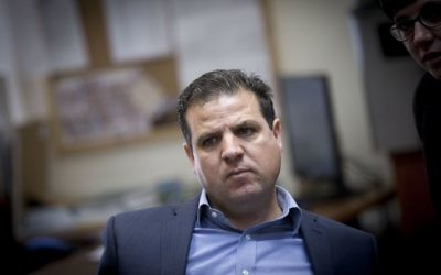 Joint (Arab) List leader Ayman Odeh leads a faction meeting in the Knesset in Jerusalem on October 31, 2016 (Miriam Alster/Flash90)