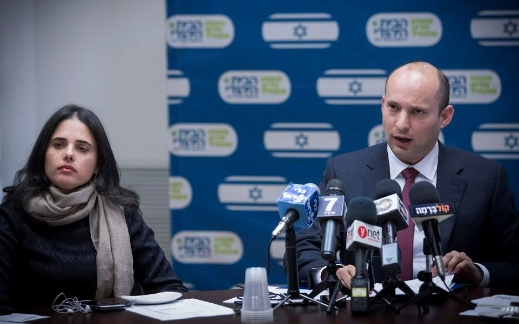 Education Minister Naftali Bennett (R) and Justice Minister Ayelet Shaked attend a Jewish Home faction meeting at the Knesset on December 12, 2016. (Yonatan Sindel/Flash90)
