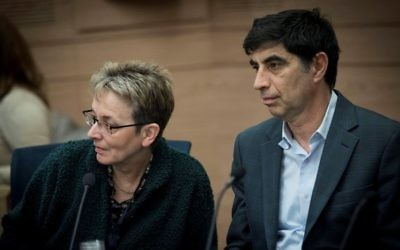 Leah (L) and Simcha Goldin, parents of late Israeli soldier Hadar Goldin attend a Knesset committee meeting on February 1, 2017. (Yonatan Sindel/Flash90)