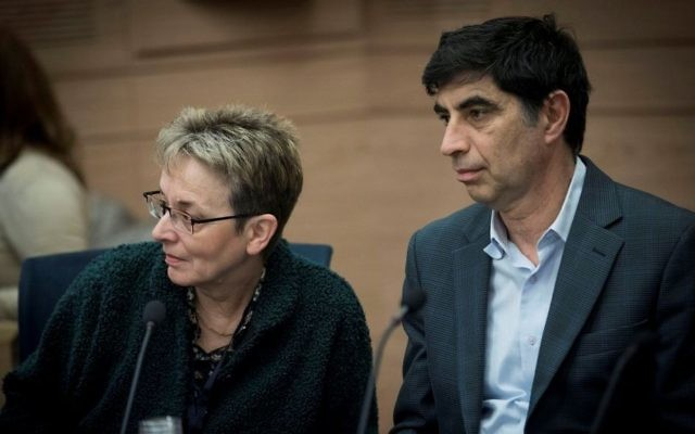 Leah and Simcha Goldin, parents of late Israeli soldier Hadar Goldin, attend a Knesset committee meeting in Jerusalem on February 1, 2017. (Yonatan Sindel/Flash90)