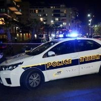 Illustrative: A police cruiser in the Israeli coastal town of Bat Yam on February 27, 2017. (Moti Karelitz/Flash90)