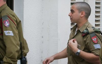 Elor Azaria arrives to an appeals hearing at a courtroom IDF's Tel Aviv headquarters on May 17, 2017. (Flash90)