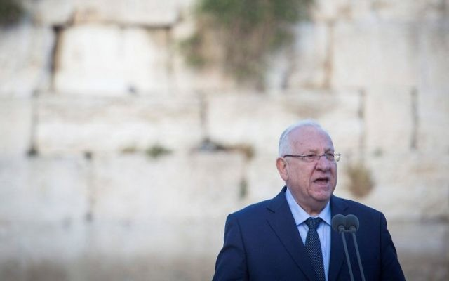 President Reuven Rivlin speaks during a ceremony marking Jerusalem Day at the Western Wall, in Jerusalem's Old City, on May 23, 2017. (Hadas Parush/Flash90)