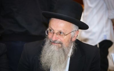 Safed Chief Rabbi Shmuel Eliyahu in Jerusalem, May 24, 2017. (Shlomi Cohen/Flash90)