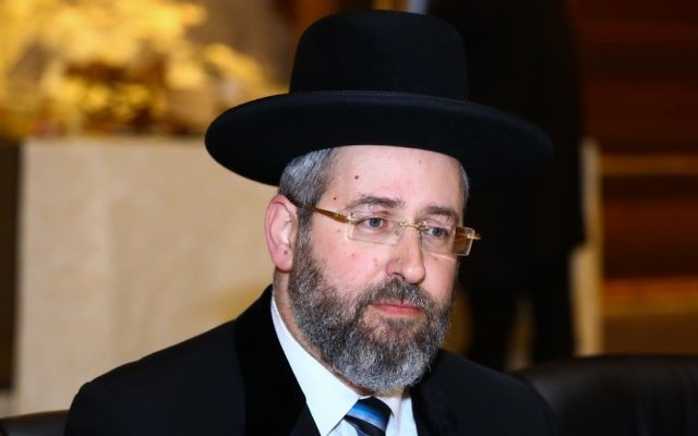 Ashkenazi Chief Rabbi David Lau attends a special meeting of the Rabbinate Council at the Western Wall Tunnels in Jerusalem Old City on May 24, 2017. (Shlomi Cohen/Flash90)