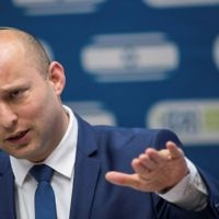 Education Minister Naftali Bennett leads a faction meeting of his Jewish Home party at the Knesset on June 19, 2017. (Yonatan Sindel/Flash90)