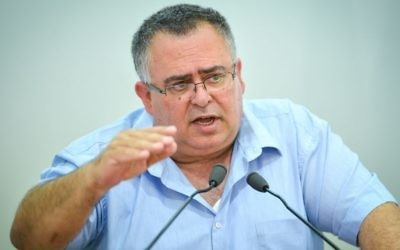 Coalition chairman David Bitan (Likud) at a press conference in Tel Aviv on June 22, 2017. (Flash90)