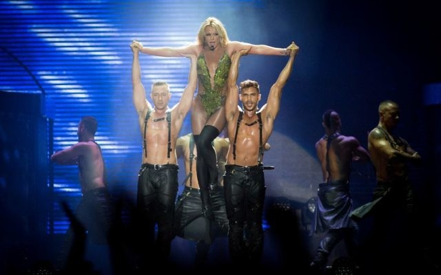 Britney Spears performs in Tel Aviv on July 3, 2017.  (Miriam Alster/Flash90)