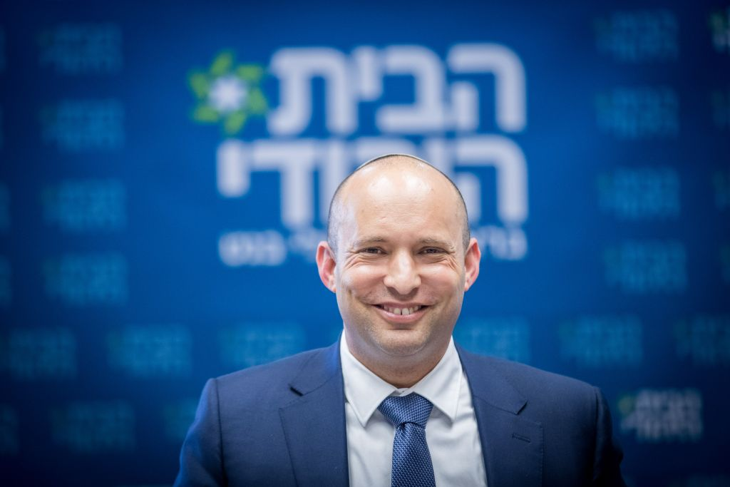 Education Minister and Jewish Home party leader, Naftali Bennett, leads the faction meeting at the Knesset on July 3, 2017. (Yonatan Sindel/Flash90)