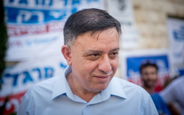 Avi Gabbay outside a primary polling station in Jerusalem on July 4, 2017. (Yonatan Sindel/Flash90)