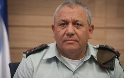 IDF Chief of Staff Gadi Eisenkot addresses the Knesset's Foreign Affairs and Defense Committee on July 5, 2017. (Isaac Harari/Flash90)