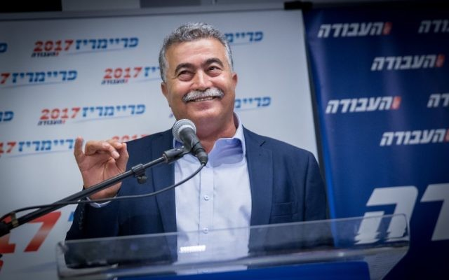 Candidate leader of Labour party Amir Peretz holds a press conference after passing to the second round of the labour primaries, in Tel Aviv on July 5, 2017. (Miriam Alster/Flash90)
