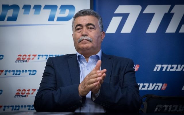 Candidate leader of Labor party Amir Peretz holds a press conference after passing to the second round of the party primaries, in Tel Aviv, July 5, 2017. (Miriam Alster/Flash90)