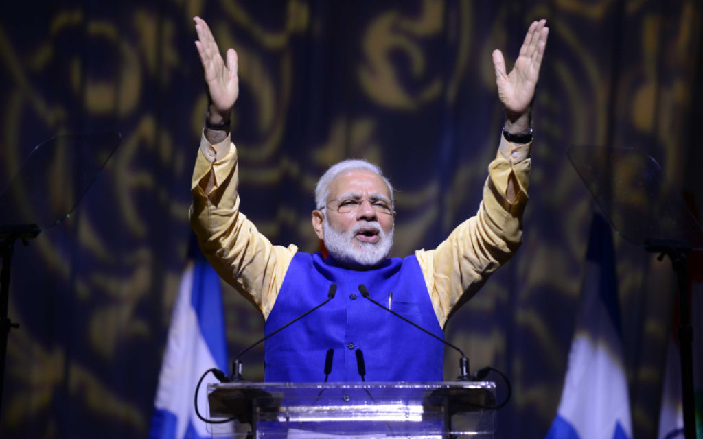 Indian Prime Minister Narendra Modi speaks at an event celebrating 25 years of relations between Israel and India, at the Convention Center in Tel Aviv, on July 5, 2017.(Tomer Neuberg/Flash90)