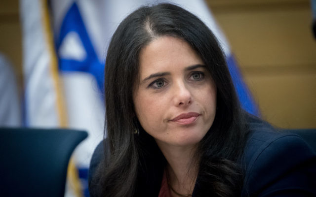 Justice Minister Ayelet Shaked attends a Constitution, Law, and Justice, Committee meeting in the Israeli parliament on July 9, 2017.(Yonatan Sindel/Flash90)