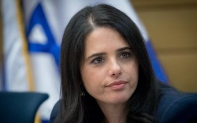 Justice Minister Ayelet Shaked attends a Knesset Constitution, Law and Justice Committee meeting on July 9, 2017. (Yonatan Sindel/Flash90)