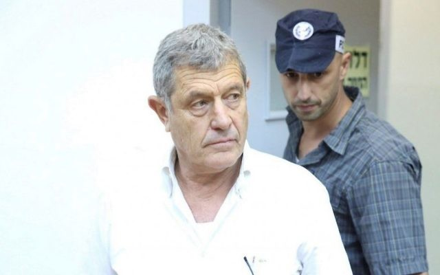 Miki Ganor is seen at a hearing at the Rishon Lezion Magistrate's Court following his arrest in the 'Case 3000' affair on July 10, 2017. (Moti Kimchi/Pool/Flash90)