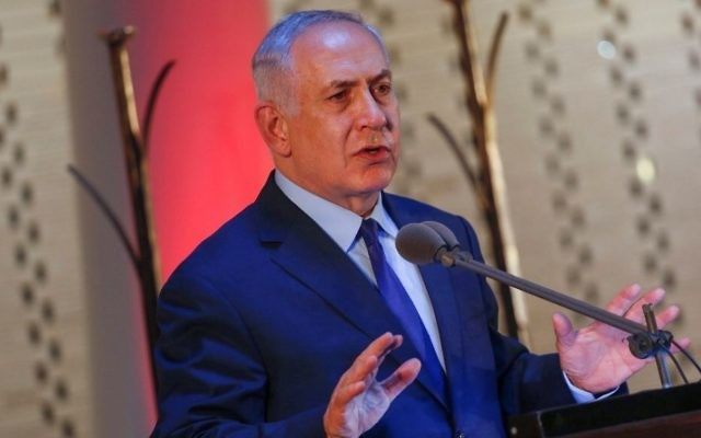 Prime Minister Benjamin Netanyahu speaks during a memorial ceremony marking three years since Operation Protective Edge at Mount Herzl military cemetery in Jerusalem on July 13, 2017. (Hadas Parush/Flash90)