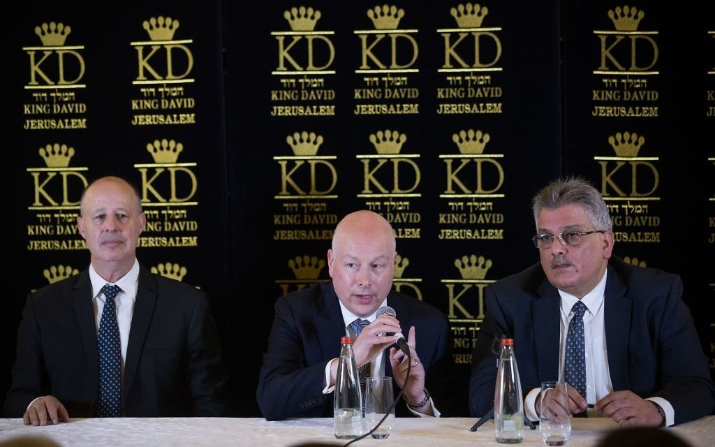 US Special Envoy Jason Greenblatt (C), during a press conference regarding the water agreement between Israel and the Palestinian Authority. (Yonatan Sindel/Flash90)