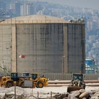 A view of the ammonia tank in Haifa, on June 30, 2017. (Flash90)