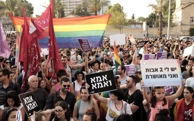 Thousands protest in support of the right of LGBT couples to adopt children at a demonstration in Tel Aviv on July 20, 2017. (Tomer Neuberg/Flash90)