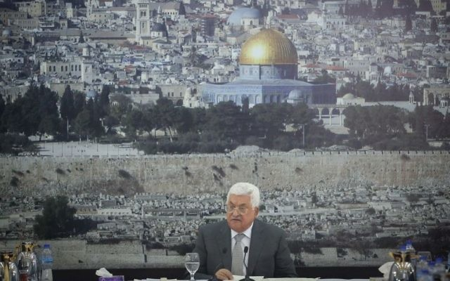 Palestinian Authority President Mahmoud Abbas gives a speech during a meeting of Palestinian leadership in the West Bank city of Ramallah on July 21, 2017, in front of a picture of Jerusalem. (Flash90)