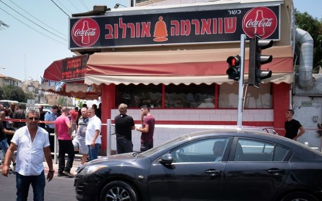 The shawarma shop where a Palestinian man stabbed an Arab-Israeli bus driver in Petah Tikva, July 24, 2017 (Roy Alima/Flash90)