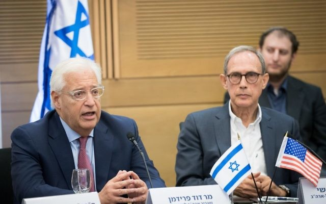 File: US Ambassador to Israel David Friedman (left) and MK Nachman Shai at a meeting of the caucus for US-Israel relations at the Knesset, July 25, 2017. (Yonatan Sindel/Flash90)