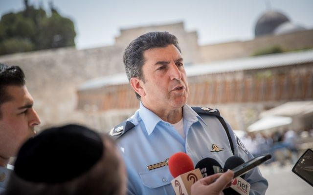Jerusalem District Police Commander, Yoram Halevi gives a statement to the media about recent events at the Western Wall, in Jerusalem's Old City, July 27, 2017. (Yonatan Sindel/Flash90)
