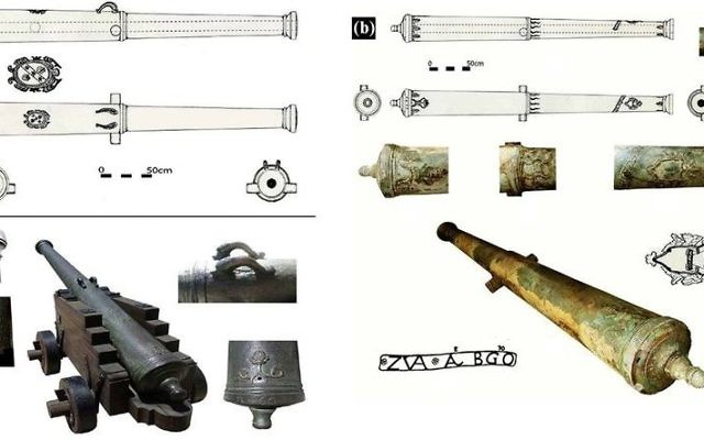 The bronze cannons as found at sea and decorative elements of cannon C after cleaning (E. Galili)