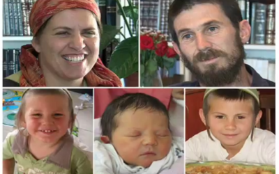 Members of the Fogel family killed on March 11, 2011 in Itamar. (Clockwise from top left) Ruth, Ehud, Yoav, Hadas and Elad. (Screen capture/YouTube)