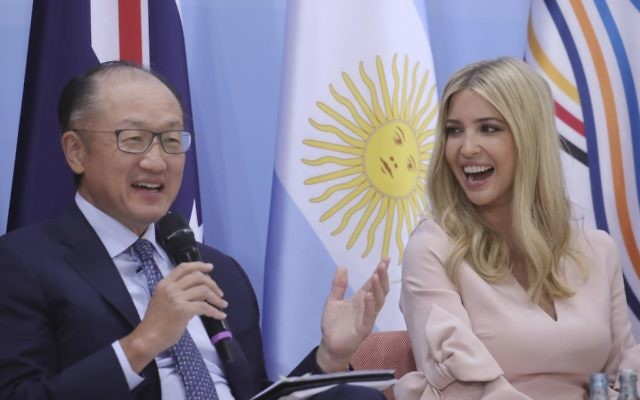 "President of World Bank Group, Jim Yong Kim, left, and the daughter and advisor of US president Donald Trump, Ivanka take part in a panel discussion ""Launch Event Women's Entrepreneur Finance Initiative"" during the G-20 summit in Hamburg, Germany, Saturday, July 8, 2017. (Michael Kappeler/Pool Photo via AP)"