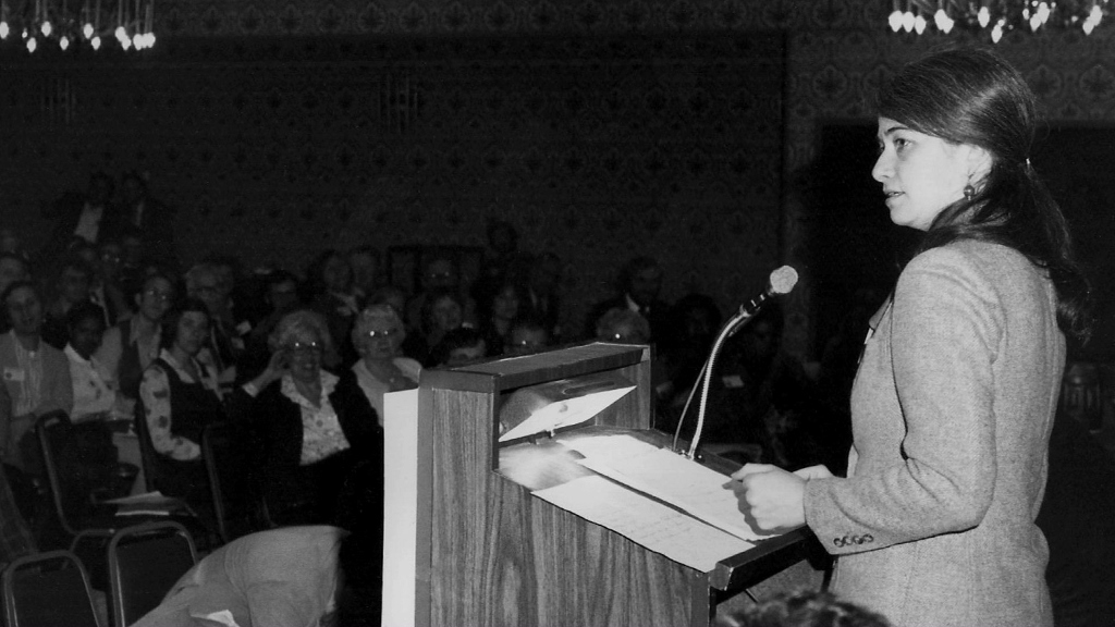 Heather Booth in 1978, as part of the Citizen Labor Energy Coalition. (Courtesy)
