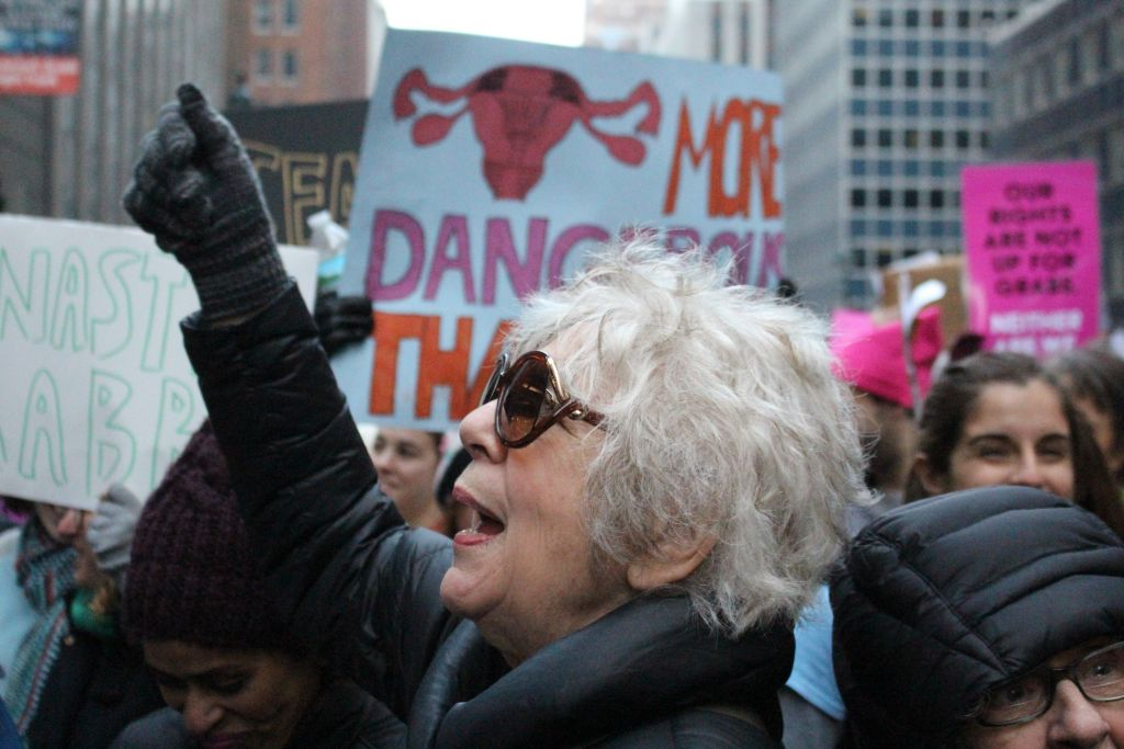 Lilly Rivlin, filmmaker, author, organizer, and activist, at a New York women's rally. (Courtesy)