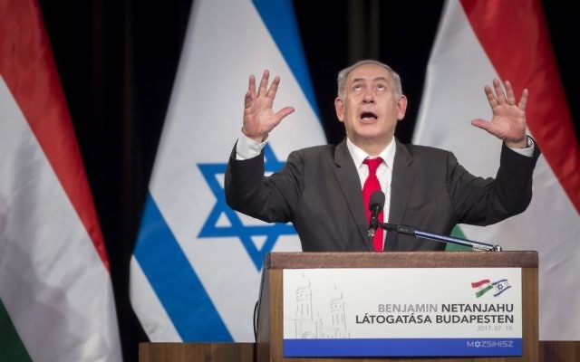 Prime Minister Benjamin Netanyahu delivers his speech in the Goldmark Room of the Federation of Jewish Religious Communities of Hungary (Mazsihisz) Office in Budapest, Hungary, Wednesday, July 19, 2017. (Balazs Mohai/MTI via AP)