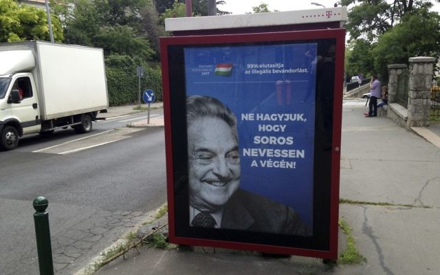 An anti-Soros poster reading '99 percent reject illegal migration' and 'Let's not allow Soros to have the last laugh,' in Budapest, Hungary, on July 5, 2017. (AP/Pablo Gorondi)