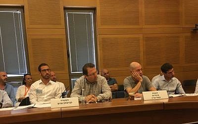 Participants in a July 31 Reforms Committee meeting on binary options (Times of Israel staff)
